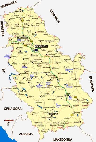 Banje Srbije Mapa